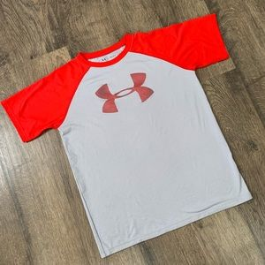 Boys Red and Gray Under Armour Shirt Size L